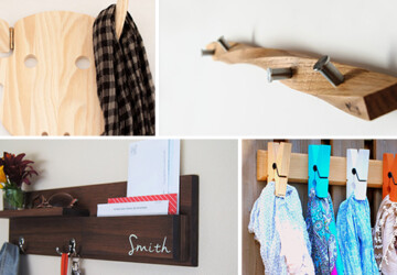 18 Practical Handmade Coat Rack Ideas You Can Produce By Yourself - wood, wall, Storage, shelf, rustic, rack, organizer, mail, key, ideas, idea, holder, hanger, handmade, etsy, entryway, diy, craft, coat