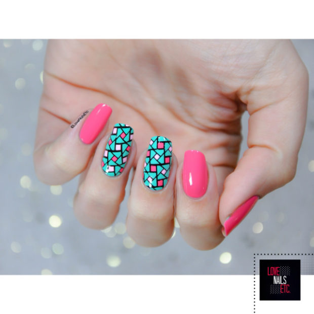 Mix of Pink and Aqua Nail Polish Colors for Cute Summer Nail Art