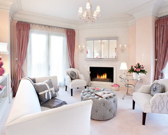 mix of grey and pink for chic living room decor part 1