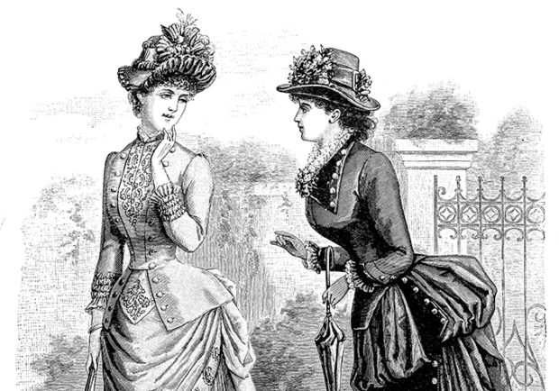 Vintage Victorian Women's Fashion Dress Illustration - Retro 1800s Black and White Dresses and Gowns Image.