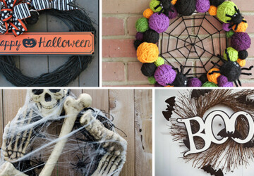 15 Spooky Handmade Halloween Wreath Designs To Decorate Your Front Door With - wreath, witch, spooky, skull, skeleton, scary, Pumpkin, jack-o-lantern, ideas, handmade, halloween decor, halloween, Front door, felt, diy, decorations, decor, craft, burlap, bat