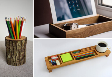 16 Splendid Ideas That Will Help You Organize Your Desktop - Storage, Pencil, pen, paper, organizer, Organization, office, holder, handmade, etsy, diy, desktop, desk, craft, business card