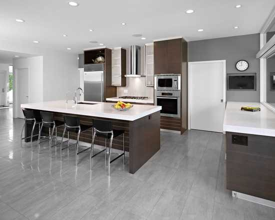 15 Stunning Grey Kitchen Floor Design Ideas