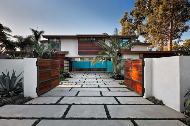 contemporary-paved-driveway-wooden-gates