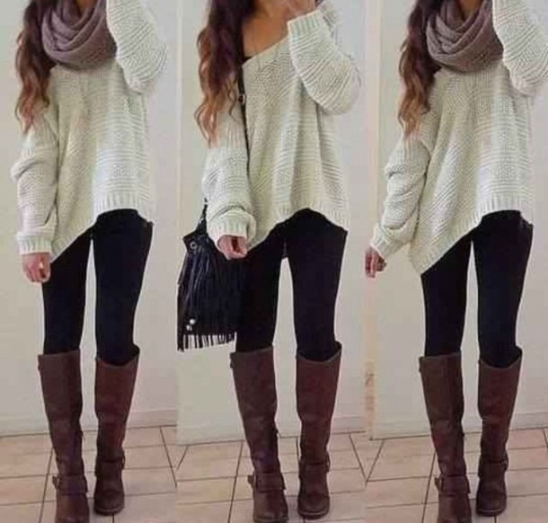 f1qa90-l-610x610-sweater-scarf-bag-shoes-jewels-hipster-outfit-autumn-boots-leggings-soft-boho-jeans-knittedsweater-tan-slouchysweater-cardigan-blouse-whitesweater-denim-oversizedwhitesweater