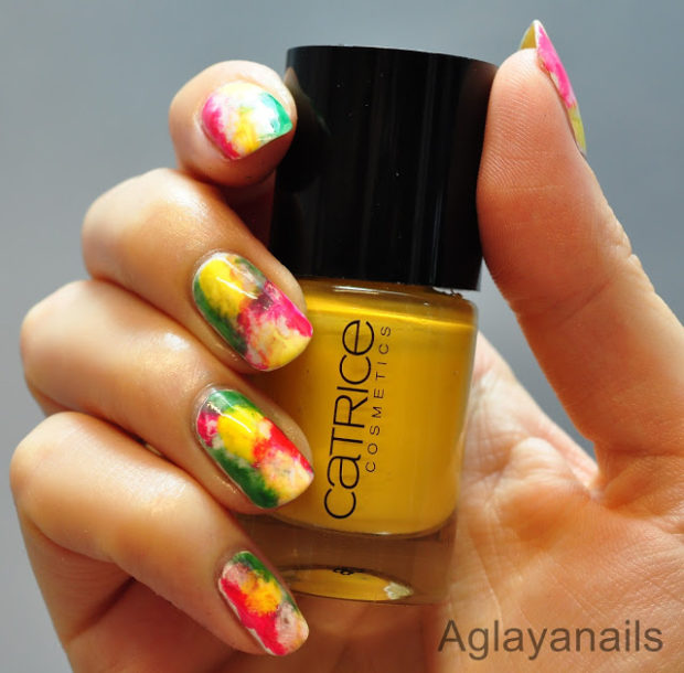 Mix of Red, Yellow and Green for Creative and Fun Nail Art