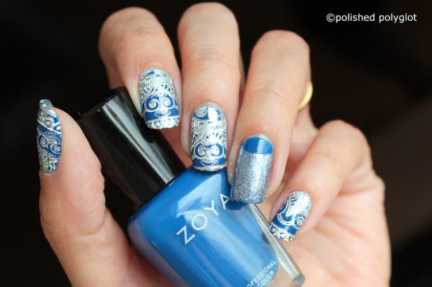 Mix of Blue and Silver for Stunning Nail Art