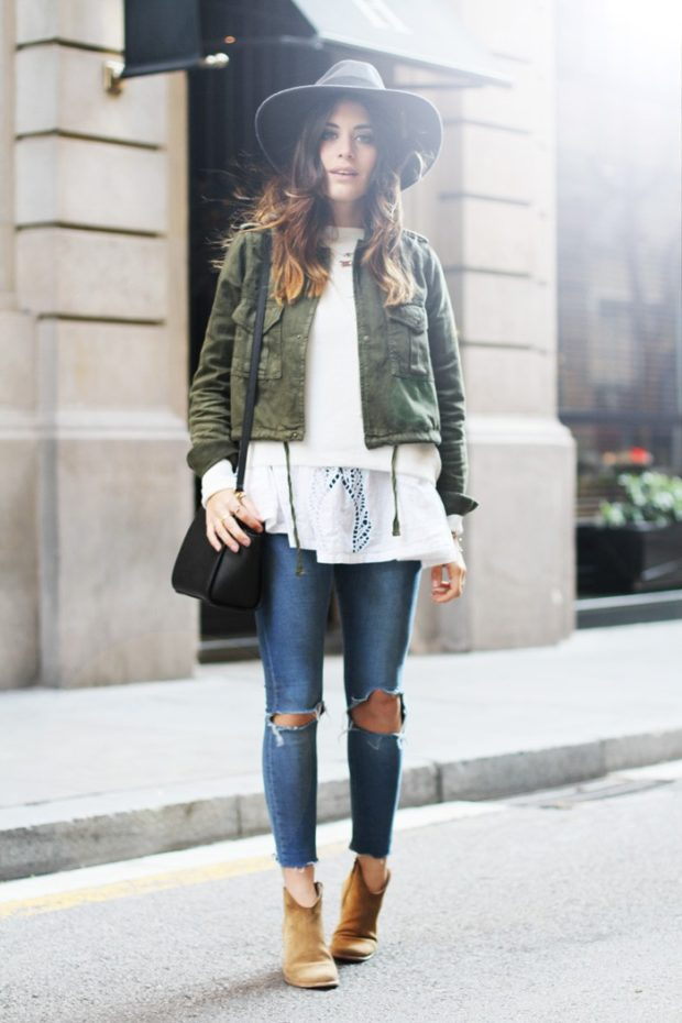 Ways To Style The Military Jacket Trend This Fall02