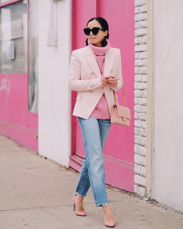 16 Lovely Casual Pink Sweater Outfit Ideas