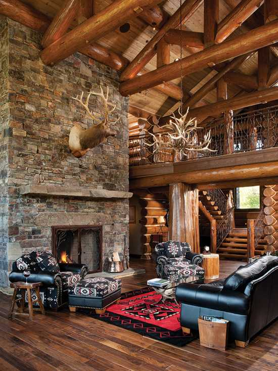 Log Cabin Great Room Ideas