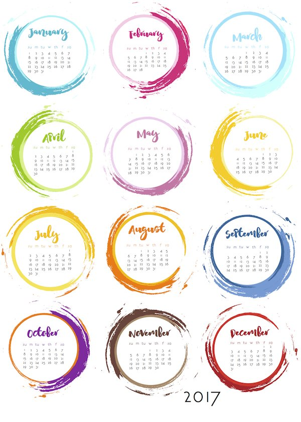 Get Your Life Organized: 15 Great Free Printable Calendars For 2017 - organization hacks, get organized, Free Printable Calendars For 2017, diy organization projects, craft organization, calendar