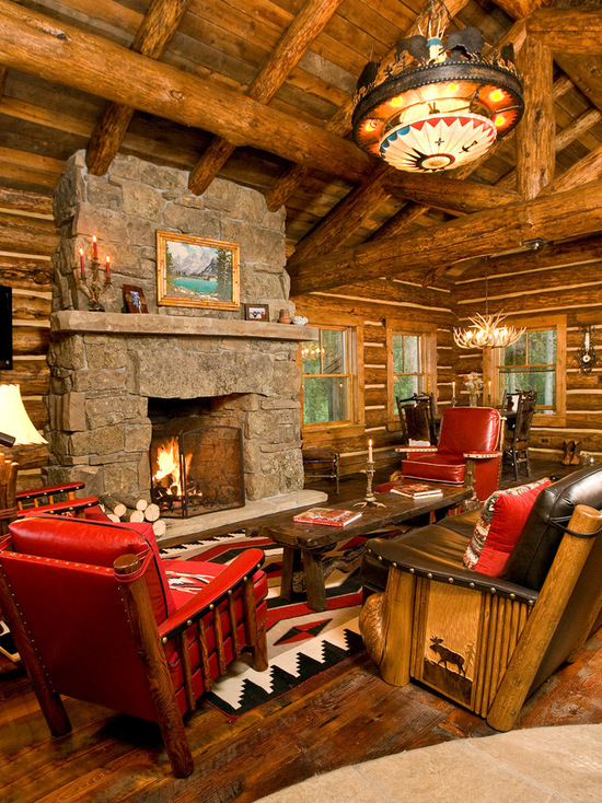 Stone Wall Living Room: 18 Cozy And Rustic Cabin Living Room Design Ideas