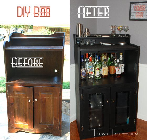 30+ Creative DIY Wine Bars for Your Home and Garden --> DIY Turn Wood Shelves Into A Chic Mini Bar