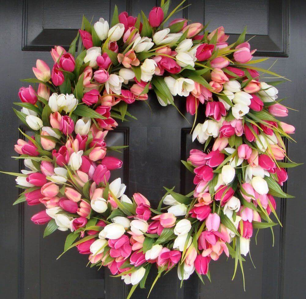 Greet Guests with a Lavish Tulip Wreath