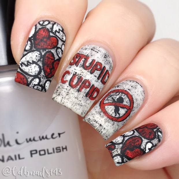 13 Crazy Anti Valentine S Day Nail Art Ideas Style Motivation