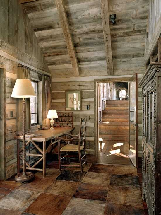 18 great cabin home office design ideas in rustic style - Interior pictures of small log cabins ...