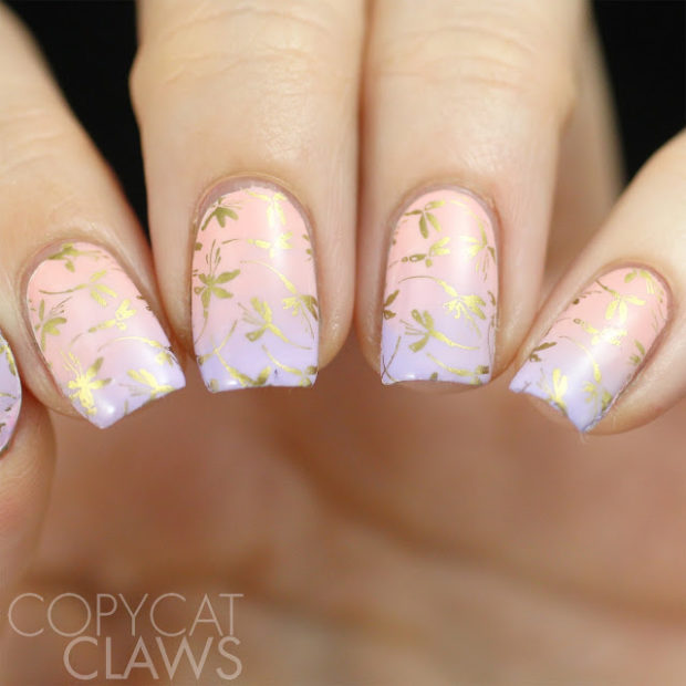 20 Great Nail Art Ideas: Mix of Lilac, Pink and Gold Colors