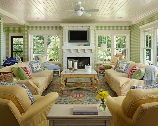 Preppy Home Decor lake house family room Colorful Preppy Home 17 Living Room Design And Decor Ideas