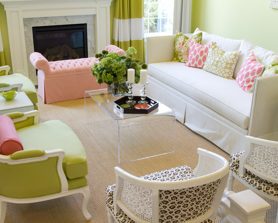 pink and green living room colorful preppy home 17 living room design and decor 21847