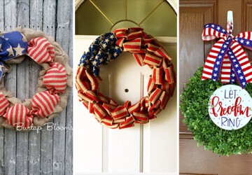 15 Patriotic Handmade Wreath Designs For 4th Of July - wreath, White, usa, red, july 4, independence day, ideas, holiday, hanging, handmade, grapevine, Front door, door, decorations, decorating, decor, crafts, crafting, burlap, blue, america, 4th of July