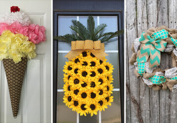 15 Refreshing Handmade Summer Wreath Designs For Your Front Door - wreath, summer, handmade, Front door, flowers, floral, felt, diy, decorations, decor, crafts, burlap