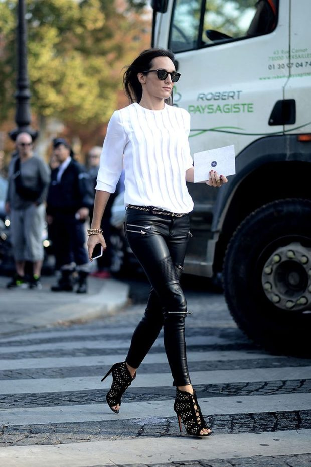 15 Chic Fashion Ideas To Rock Leather Pants
