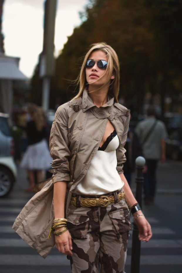 15 Amazing Military Outfits For A Powerful Look - woodland, women, woman, trendy, pattern, outfit, military, chic, camouflage, camo, army