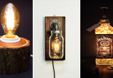 15 Crafty Handmade Lamp Designs That You Can DIY - wood, wall lamp, table lamp, sconce, reclaimed wood, mason jar, lighting, light, Lamp, industrial, edison, diy, desk lamp, crafts, crafting, craft, bulb