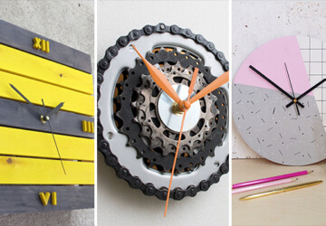 16 Chic Handmade Wall Clock Designs That Make Great DIY Projects - wood, wall decor, wall clock, wall, home decor, handmade, diy, crafts, crafting, concrete, clock