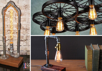 16 Creative Handmade Industrial Lighting Ideas For Your Interior - steel, steampunk, pipes, pipe, pendant, lighting, light, Lamp, industrial, handmade, diy, crafts, copper, chandelier, bronze