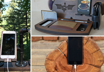 17 Unique Handmade Charging Station Designs Are The Gifts You've Always Wanted - tablet, station, stand, phone, organizer, men, iPhone, iPad, holder, gift for men, gift, docking, dock, charging station, charging