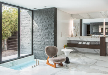 17 Avant-Garde Contemporary Bathroom Designs That Will Take Your Breath Away - vanity, simple, shower, modern, mirror, minimalist, luxury, light, interior, glass, Elegant, design, contemporary, clean, bathroom, bath