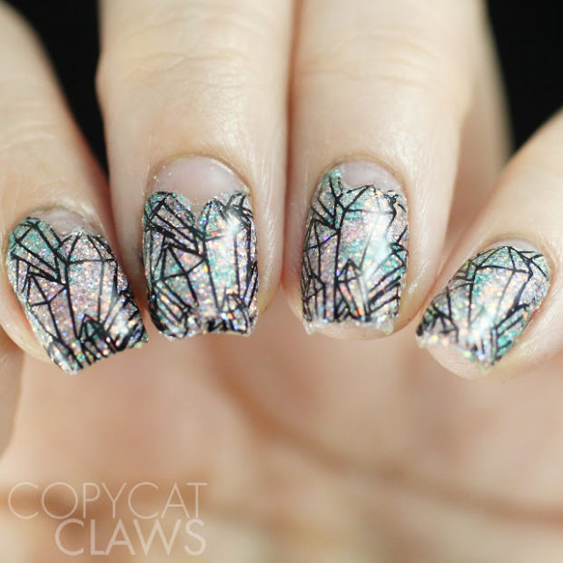 16 Sparkly Crystal Stamping Nail Art Ideas