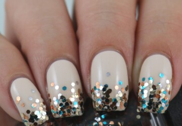17 Glitter Placement with Stamping Nail Art Ideas - nail art ideas, Glitter nails, glitter nail art, glitter nail