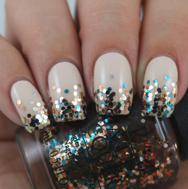 17 Glitter Placement with Stamping Nail Art Ideas