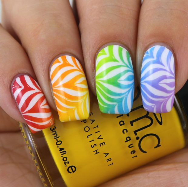 Rainbow Water Marble Nail Art Ideas - Style Motivation