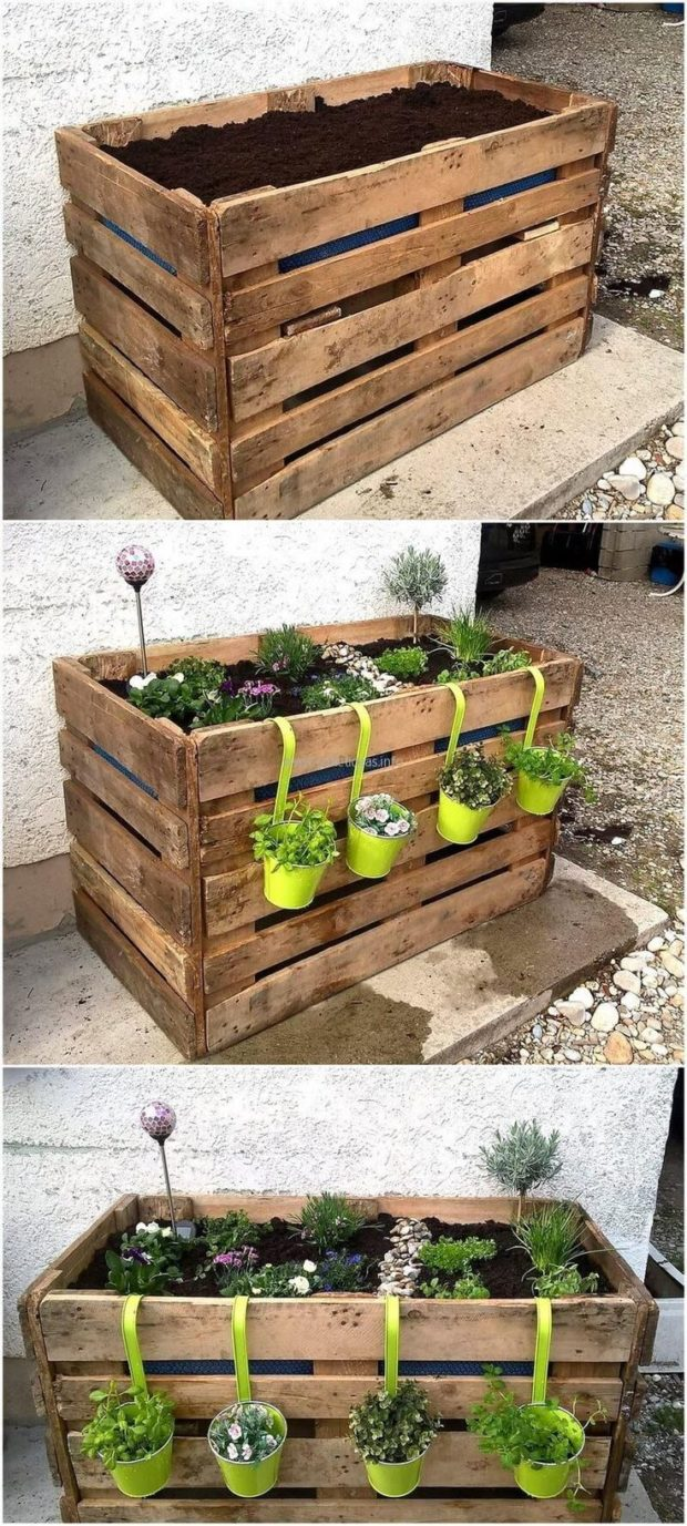 5 Things You Can DIY From Wooden Pallets - Planter, pallets, garden table, fence, diy shelves, diy, bed