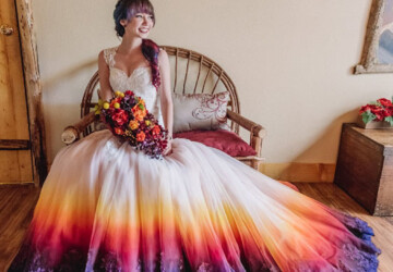 20 Colorful Wedding Dresses For Fall - fall wedding dresses, Colorful Wedding Dresses, Colorful Wedding, Colorful