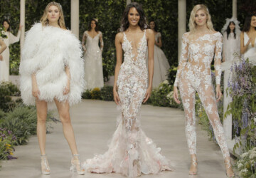 10 Wedding Dress Trends You Should Know for 2019 - Wedding Dresses, trends 2019, Sparkles, Royalty Classic, Pantsuits, Necklines, Midriff Elegance, Long Capes, Lace, Jumpsuits, fashion, Cocktail Length, Ballgown Structure, Accent Bows