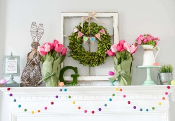 Pretty Easter Mantel Decorations - Mantel Ideas, mantel decoration, Easter Mantel Decorations, Easter Mantel Decor, Easter Mantel