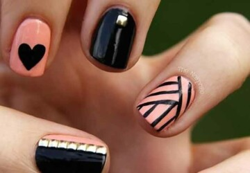 15 Trendy Nail Art Designs For Short Nails - Short Nails, nail art ideas, Nail Art Designs For Short Nails, Nail Art Designs, Bold Black Nail Art Designs and Ideas, amazing nail art