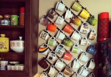 7 Pretty Ways to Store Your Mugs - wall art, mug wall art, Mug, clothes hanger, clothes display, cabinet hooks