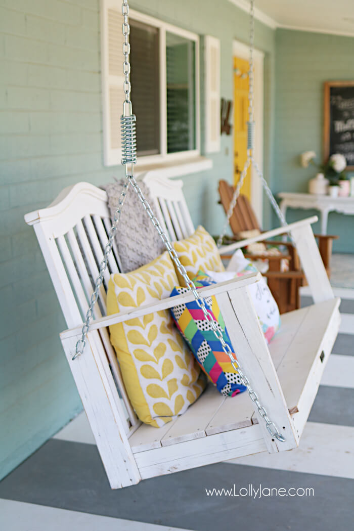 Funky Nantucket Colorful Porch Swing