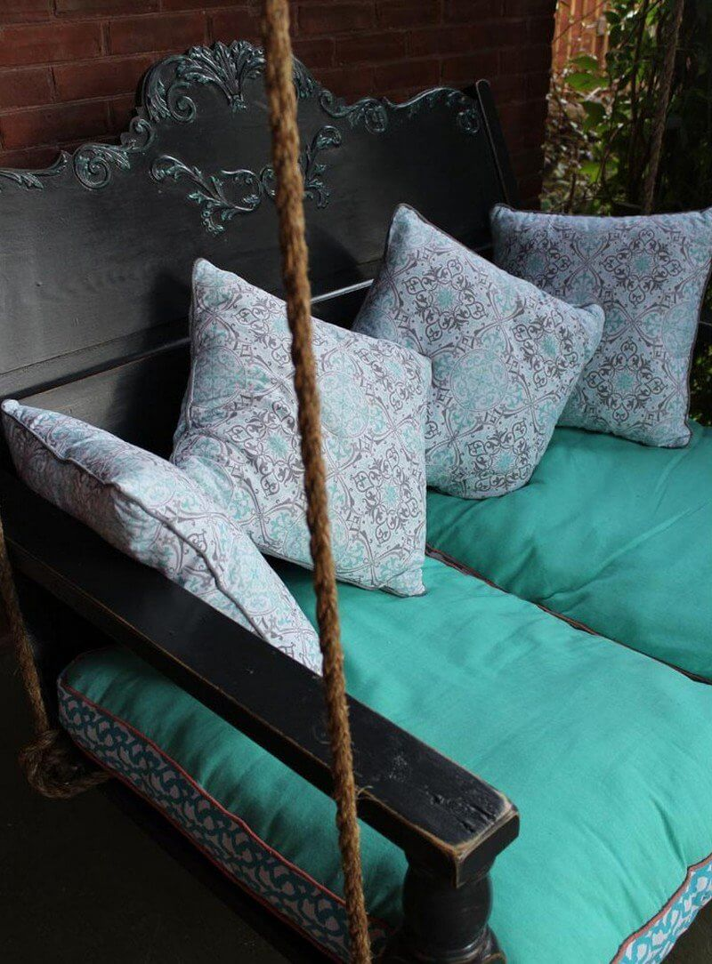 Azores Blue Cushioned Porch Swing