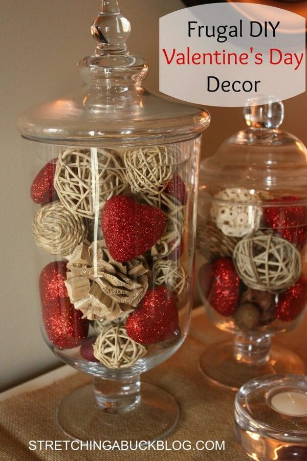 Glass Vases Brimmming with Hearts and Twigs