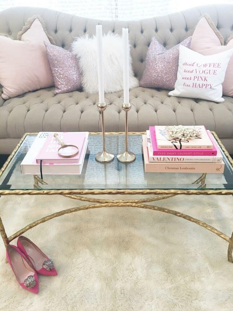 Chic Minimalist Pink and Gold Display with Focal Candlesticks