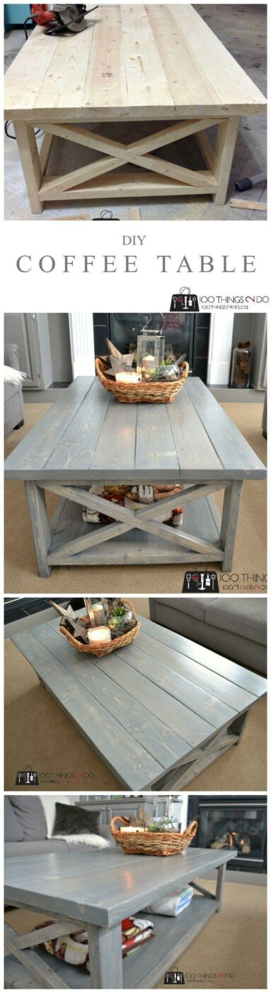 Long DIY Farmhouse Coffee Table Ideas