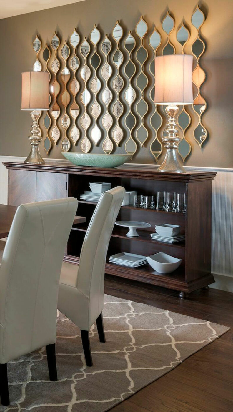 Contemporary Dining Room Mirror Wall