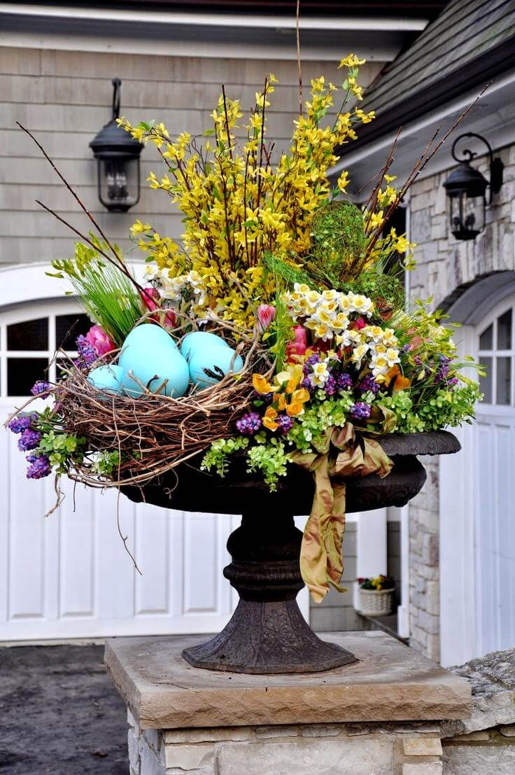 Floral Spring Planter with Bird Nest