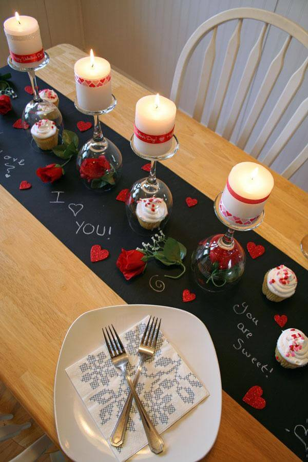 Inverted Wine Glass Candle and Cupcake Holders